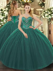 Amazing Dark Green 15 Quinceanera Dress Military Ball and Sweet 16 and Quinceanera with Beading Sweetheart Sleeveless Lace Up
