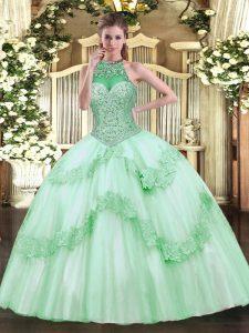 Floor Length Ball Gowns Sleeveless Apple Green Sweet 16 Quinceanera Dress Lace Up