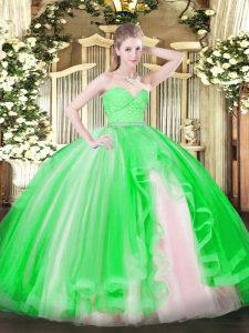 Modern Sweetheart Sleeveless Zipper Quinceanera Gown Green Tulle