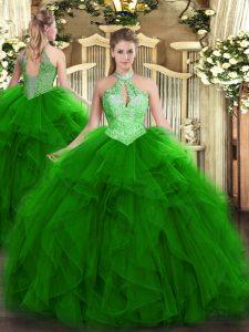 Custom Made Green Sleeveless Floor Length Ruffles and Sequins Lace Up 15th Birthday Dress