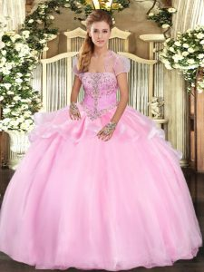 Baby Pink Lace Up Strapless Appliques Quince Ball Gowns Organza Sleeveless