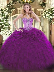 Eggplant Purple Sweetheart Neckline Beading and Ruffles 15th Birthday Dress Sleeveless Lace Up