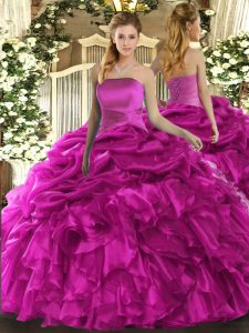 New Arrival Floor Length Ball Gowns Sleeveless Fuchsia Ball Gown Prom Dress Lace Up
