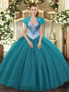 Enchanting Teal Sleeveless Tulle Lace Up Sweet 16 Quinceanera Dress for Military Ball and Sweet 16 and Quinceanera