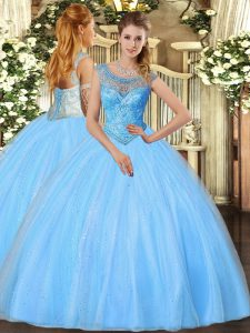 Artistic Baby Blue Ball Gowns Tulle Scoop Sleeveless Beading Floor Length Lace Up Sweet 16 Dress