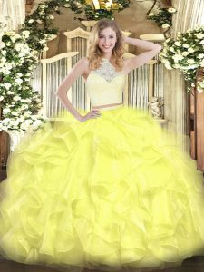 Scoop Sleeveless Sweet 16 Dress Floor Length Lace and Ruffles Yellow Organza