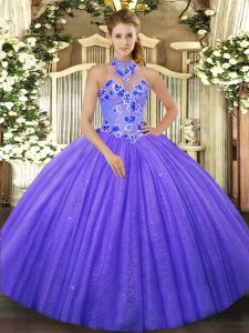 Inexpensive Purple Sleeveless Beading and Embroidery Lace Up Quinceanera Dress