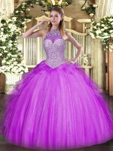 Elegant Halter Top Sleeveless Lace Up Vestidos de Quinceanera Lilac Tulle