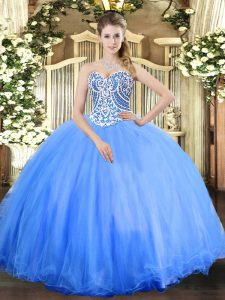 Enchanting Sleeveless Floor Length Beading Lace Up Ball Gown Prom Dress with Baby Blue