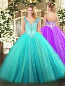 Glamorous Aqua Blue Sleeveless Tulle Lace Up Sweet 16 Quinceanera Dress for Military Ball and Sweet 16 and Quinceanera