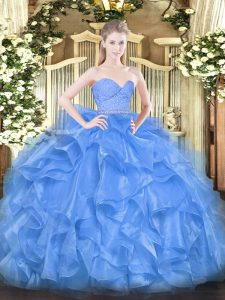 Baby Blue Zipper Quinceanera Gowns Beading and Lace and Ruffles Sleeveless Floor Length