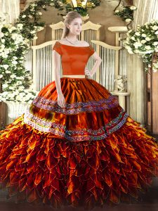 Rust Red Short Sleeves Organza Zipper Ball Gown Prom Dress for Military Ball and Sweet 16 and Quinceanera