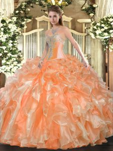 Cheap Sleeveless Beading and Ruffles Lace Up Vestidos de Quinceanera