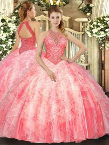 Hot Sale Watermelon Red Sleeveless Floor Length Beading and Ruffles Lace Up Quinceanera Dress