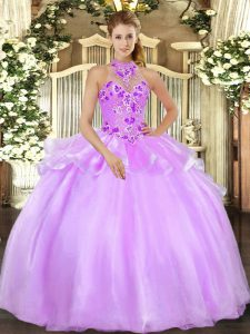 Admirable Halter Top Sleeveless Lace Up Quince Ball Gowns Lilac Organza