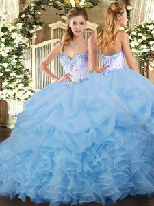 Blue Sweet 16 Dress Organza Sleeveless Beading and Ruffles and Pick Ups