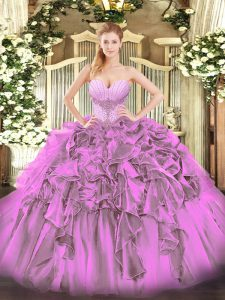 Adorable Lilac Organza Lace Up Quinceanera Gown Sleeveless Floor Length Beading and Ruffles