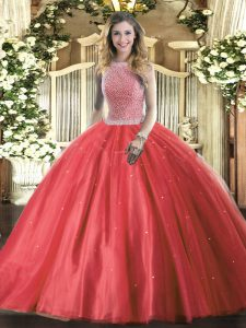 Beading Sweet 16 Dresses Red Lace Up Sleeveless Floor Length