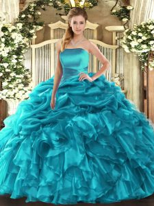 Teal Strapless Lace Up Ruffles and Pick Ups Quinceanera Gowns Sleeveless
