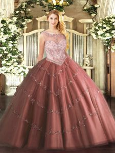 Glittering Tulle Scoop Sleeveless Zipper Beading and Appliques 15th Birthday Dress in Brown