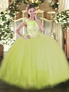 Lovely Floor Length Zipper Sweet 16 Dress Yellow Green for Sweet 16 with Beading