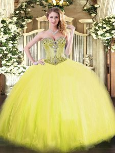 Edgy Floor Length Yellow Sweet 16 Quinceanera Dress Sweetheart Sleeveless Lace Up