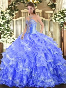 Gorgeous Sweetheart Sleeveless Sweet 16 Quinceanera Dress Floor Length Beading and Ruffled Layers Blue Organza