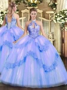 Custom Fit Tulle Sleeveless Floor Length Quinceanera Dresses and Appliques and Sequins