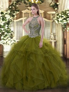 Floor Length Olive Green Quinceanera Gown Organza Sleeveless Beading