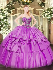 Organza and Taffeta Sleeveless Floor Length 15th Birthday Dress and Beading and Ruffled Layers