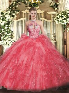 Ball Gowns Quinceanera Gowns Coral Red Halter Top Organza Sleeveless Floor Length Lace Up
