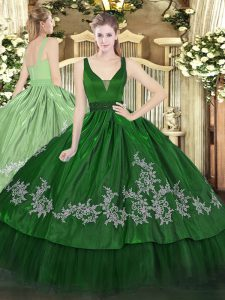 Customized Dark Green Straps Neckline Beading and Embroidery Quinceanera Gowns Sleeveless Zipper