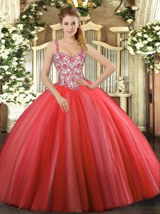 Dramatic Tulle Sleeveless Floor Length Quince Ball Gowns and Beading and Appliques
