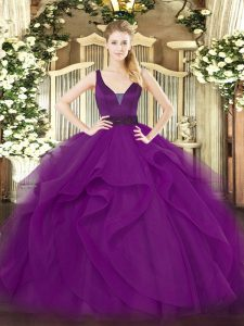 Glamorous Beading and Ruffles Sweet 16 Quinceanera Dress Purple Zipper Sleeveless Floor Length
