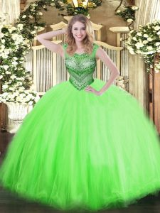 Lace Up Quince Ball Gowns Beading Sleeveless Floor Length