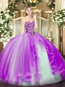 Discount Lilac Tulle Lace Up Sweetheart Sleeveless Floor Length Quinceanera Gowns Beading and Ruffles