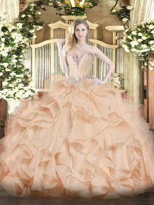Delicate Floor Length Ball Gowns Sleeveless Peach Sweet 16 Dress Lace Up