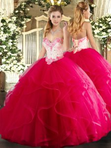 Cheap Hot Pink Lace Up Sweetheart Beading and Ruffles Sweet 16 Dresses Tulle Sleeveless