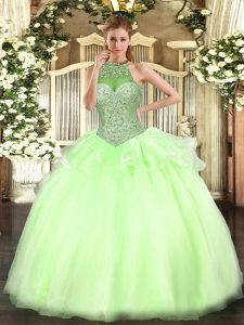Charming Yellow Green Lace Up Quinceanera Dress Beading Sleeveless Floor Length
