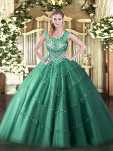 Dark Green Scoop Lace Up Beading and Appliques Quinceanera Gowns Sleeveless