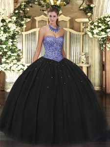 Black Sweetheart Lace Up Beading Quinceanera Gown Sleeveless