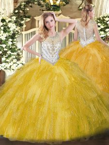 Beautiful Scoop Sleeveless Tulle Quince Ball Gowns Beading and Ruffles Zipper