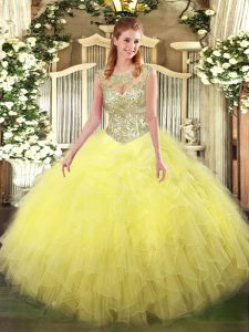Vintage Scoop Sleeveless Tulle 15th Birthday Dress Beading and Ruffles Lace Up