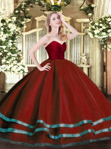 Sophisticated Wine Red Sleeveless Tulle Zipper Sweet 16 Dress for Military Ball and Sweet 16 and Quinceanera
