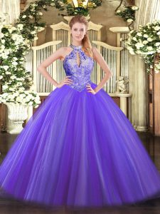 Purple Quinceanera Gowns Military Ball and Sweet 16 and Quinceanera with Sequins Halter Top Sleeveless Lace Up