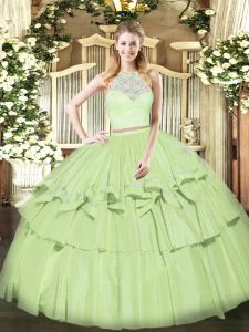 Olive Green Sweet 16 Quinceanera Dress Military Ball and Sweet 16 and Quinceanera with Lace and Ruffled Layers Scoop Sleeveless Zipper