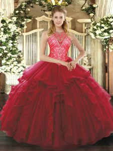New Style Sleeveless Floor Length Ruffles Lace Up 15 Quinceanera Dress with Wine Red