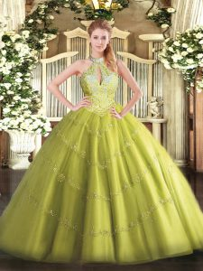 Unique Yellow Green Tulle Lace Up Halter Top Sleeveless Floor Length Quinceanera Dresses Beading