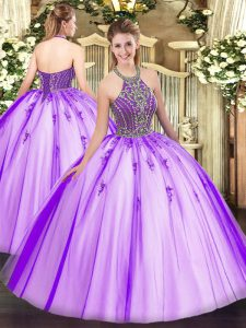 Eggplant Purple Ball Gowns Tulle Halter Top Sleeveless Beading Floor Length Lace Up Quince Ball Gowns