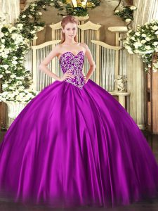 Satin Sweetheart Sleeveless Lace Up Beading Quinceanera Dresses in Fuchsia